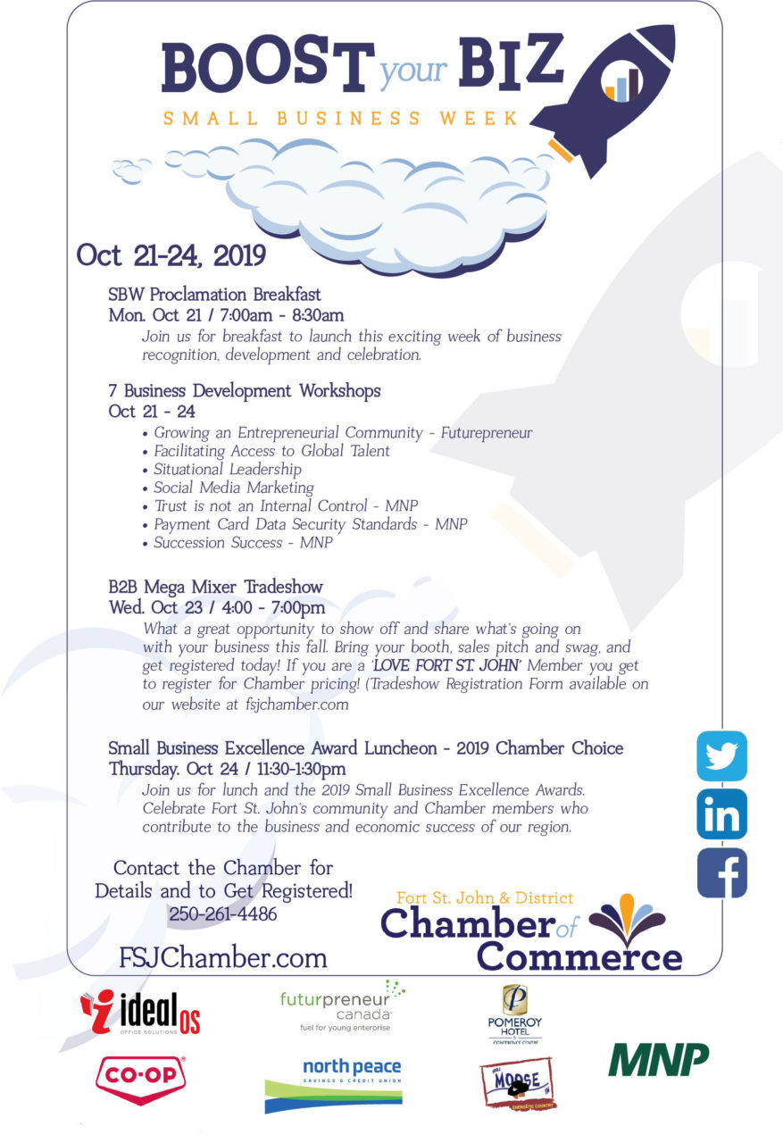 Small Business Week Oct 21st - Oct 25th @ Pomeroy Hotel