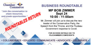 BUSINESS ROUNDTABLE with MP BOB ZIMMER @ Virtual